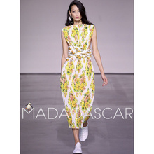 Gold CoastBohemia resort wind floral print sleeveless Straight Coacut fold girdle pleated Accordion maxi dress