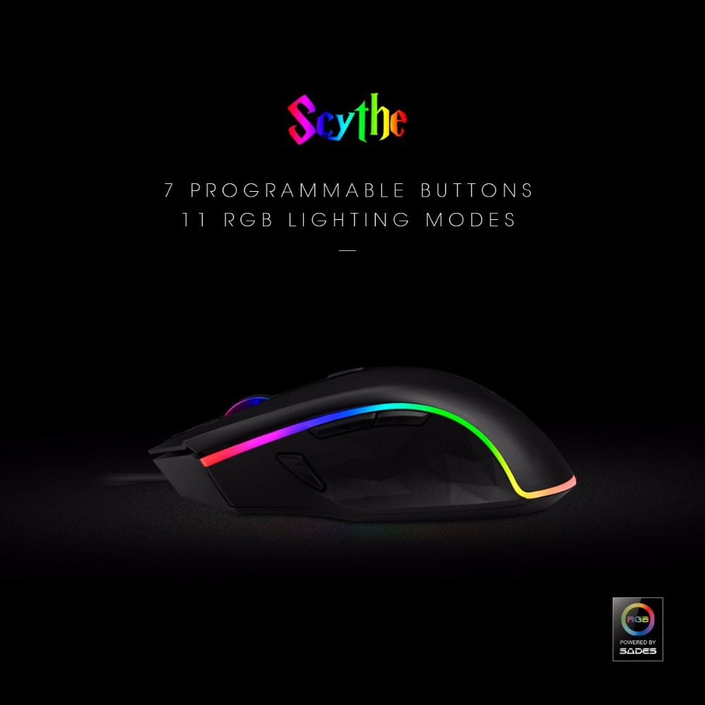 SADES Scythe S17 Gaming Mouse Wired USB 3000DPI 7 programmable buttons 11 RGB lighting Opto-electronic