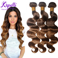 8A Queen Brazilian Virgin Hair Body Wave Ombre Hair Extensions 3 Bundles Brazilian Hair Weave Bundles 4/30 Ombre Brazilian Hair
