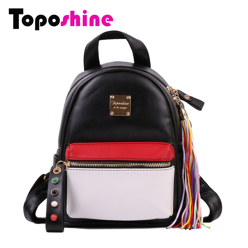 Toposhine Fashion Women Small Backpack Soft PU Leather Bag Colorful Tassel and Beads Fashion Ladies Bag