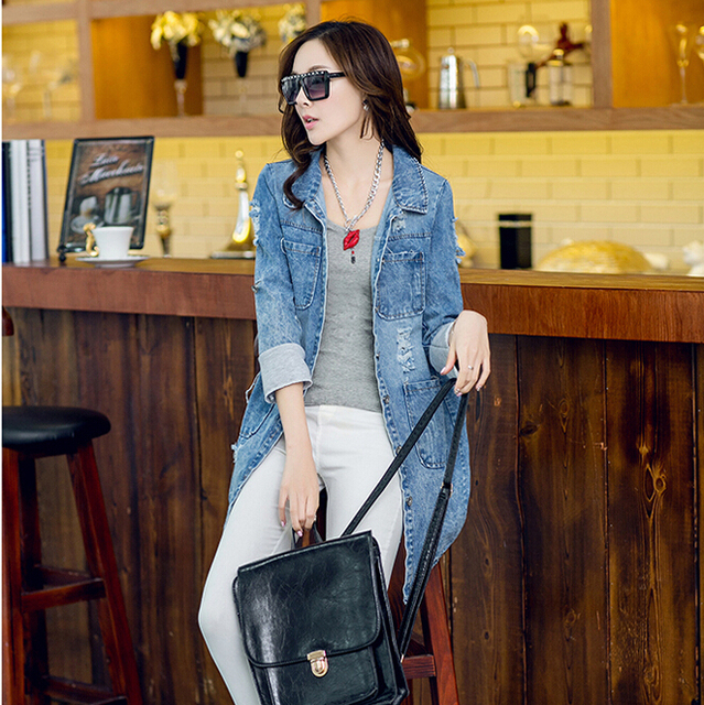 2015 New fashion autumn hot women Cowboy coats Clothing half sleeve A-line long leisure female brand jaqueta women coat trench
