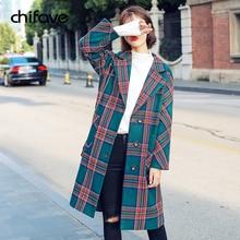 Women Autumn Winter Casual Plaid Stripe Wool Coat Fashion Long Coat Female Korean Streetwear Loose Office Lady Outwear chifave