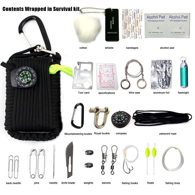 29 In 1 Outdoor Survival Equipment SOS Kit Paracord First Aid Box Supplies Field Self-help Box For Camping Travel Fishing Kit