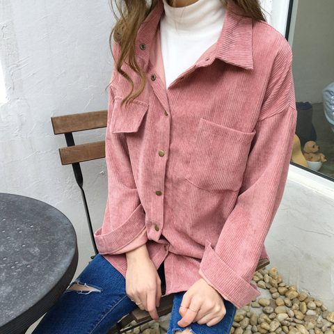 2019 Korean Long Sleeve Solid Jackets Outwear Spring Autumn Women Loose Jackets Casual Pocket Corduroy Jackets kz602 Karachi
