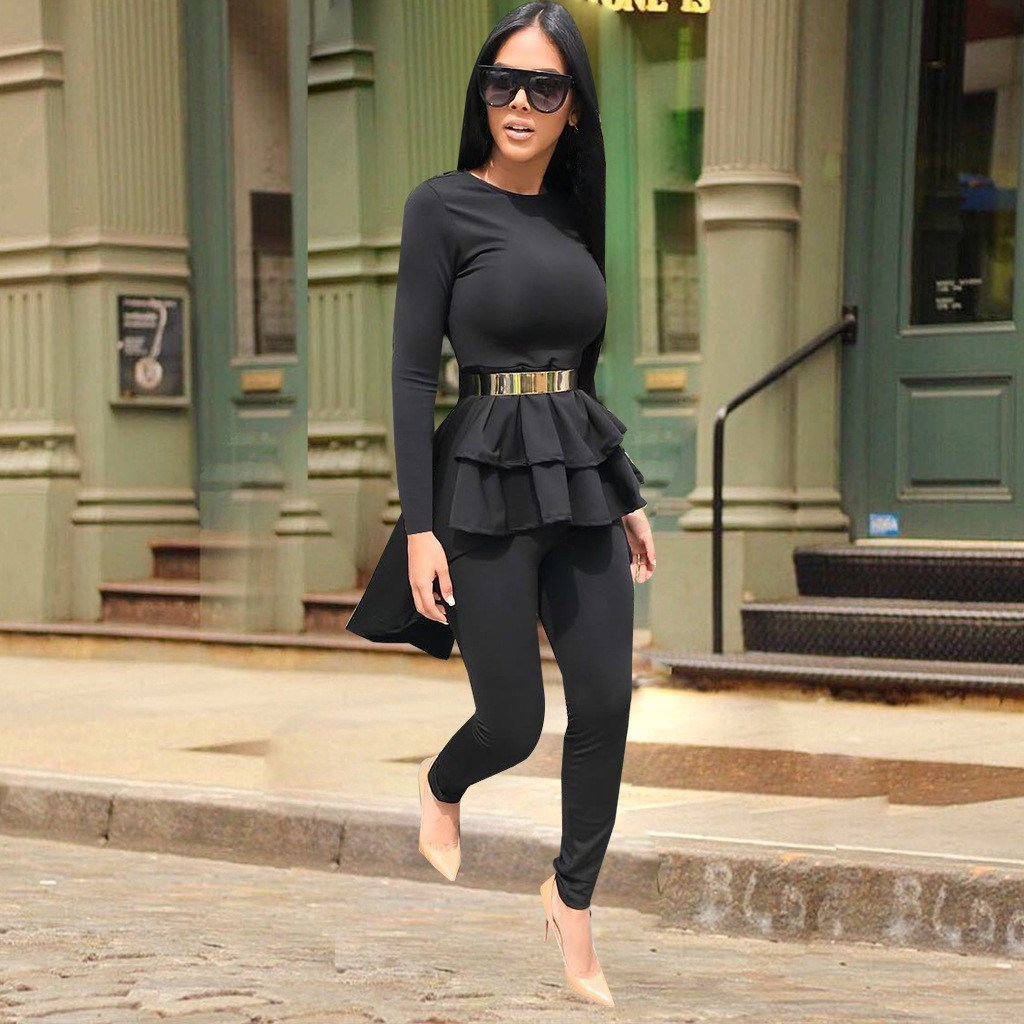 Hip Hop Loose Pants Two Piece Leisure Ankle-length Wide Leg Pockets Pants Suit Suits & Sets Women's Clothing Temperate Fashion Half Sleeves Solid Irregular T-shirt