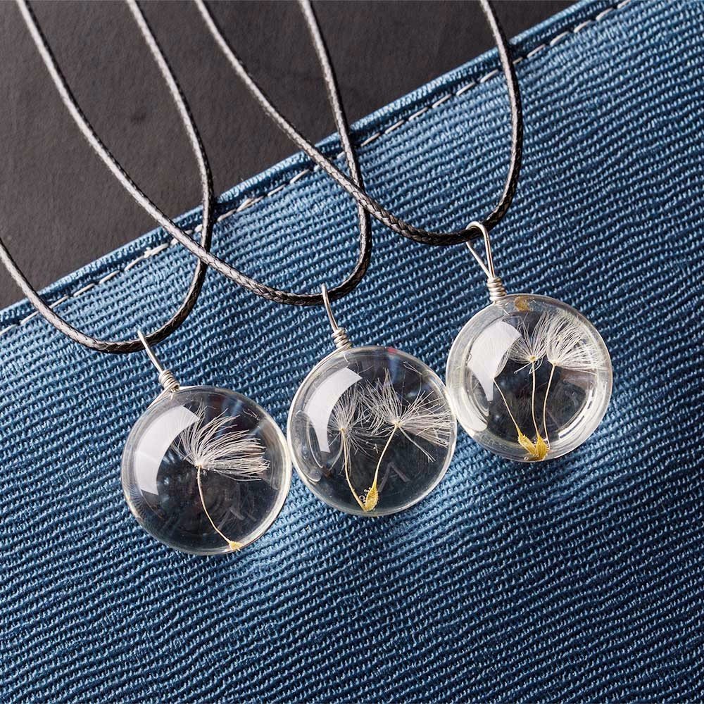 Kisswife pcs real dandelion jewelry crystal glass ball