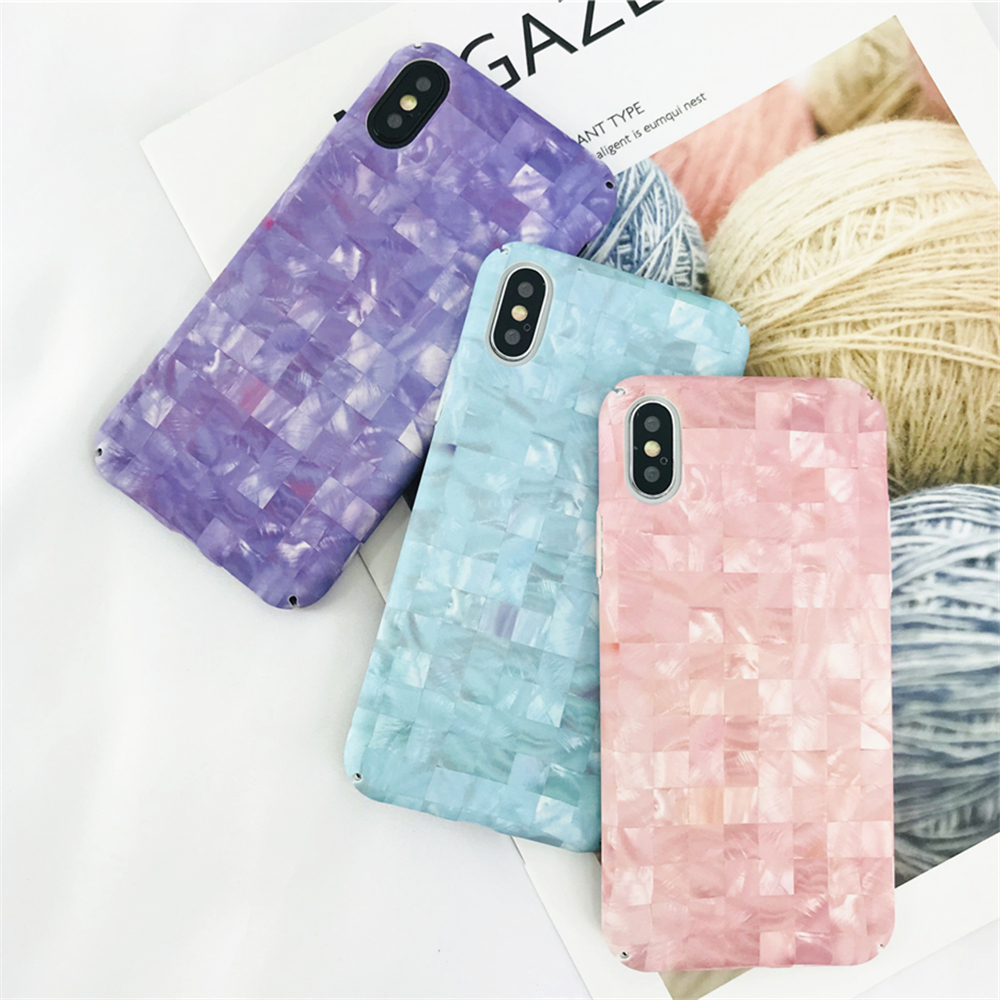 Candy Colors Simple and Elegant Marble Lattice Texture Phone Cases For Iphone 7 7Plus Case Ultra-thin Matte Hard PC Back Cover