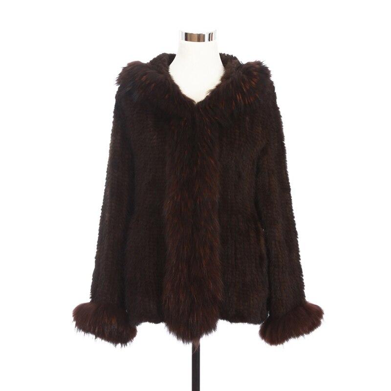 ZY81010 Real Maglia Pelliccia di Visone Con Raccoon Fur Collar Trim Con Cappuccio Cappotti di Pelliccia Femminile Pelliccia Di Visone Cappotto