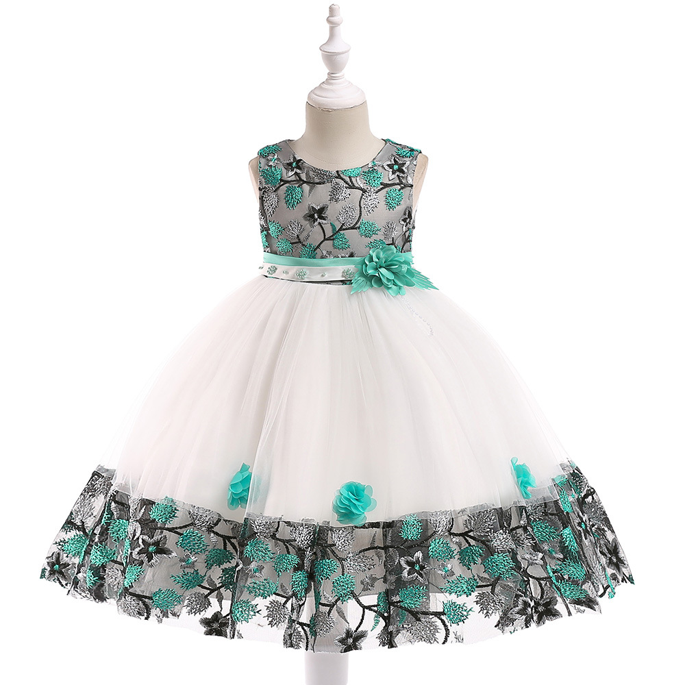 New 2019 Embroidery   Flower     Girls     Dresses   Gowns Floor Length Wedding   Girls   Party   Dresses