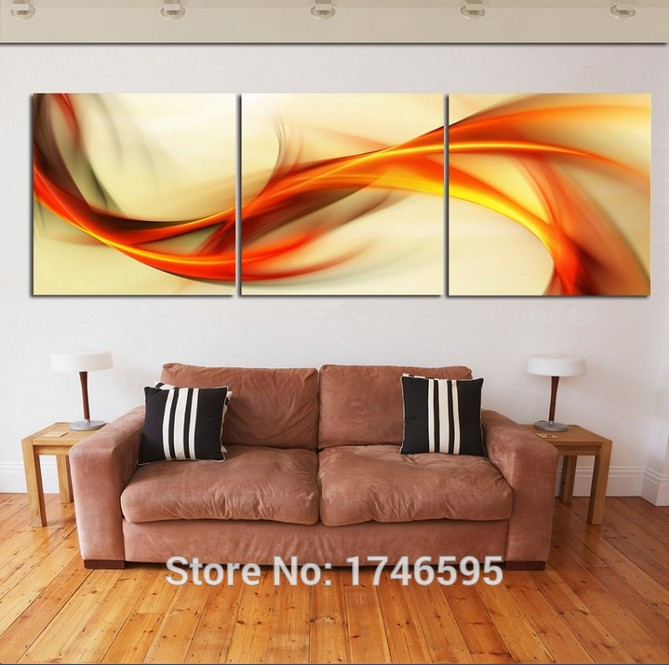 Online Hd Print 3 Pieces Canvas Abstract Orange Wall Art Picture Painting Modern Home Decor Living Room Pt0758 Aliexpress Mobile