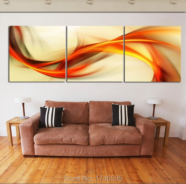 Hd print 3 pieces canvas abstract orange wall art picture print painting modern home decor wall