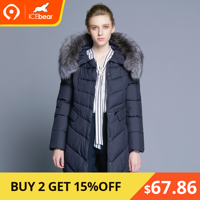 eb61f7ed55f7c Icebear 2017 воротник из натурального Мех пальто Для женщин куртка парки  био-вниз теплый утолщение