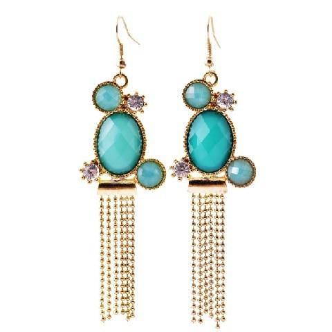2014 Hot Fashion womens blue Beautiful Charm Gem Dangle Earrings Factory Wholesale