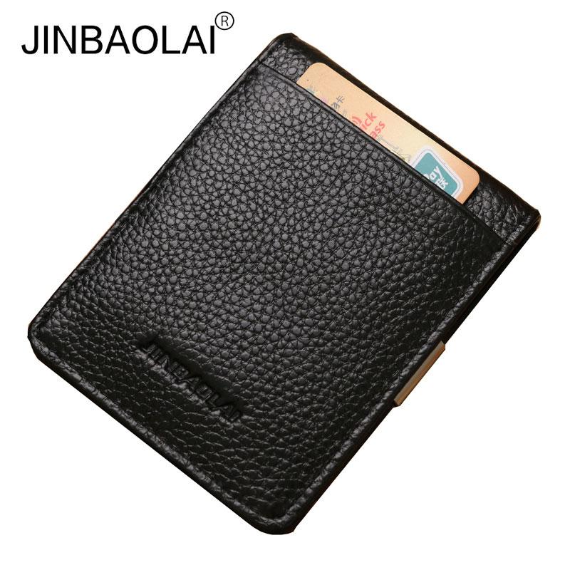 JINBAOLAI עור אמיתי גברים כסף קליפ סלים - ארנקים