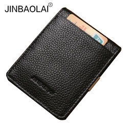 Jinbaolai genuine leather men money clip slim wallet brand male fashion design pocket clip for moeny.jpg 250x250