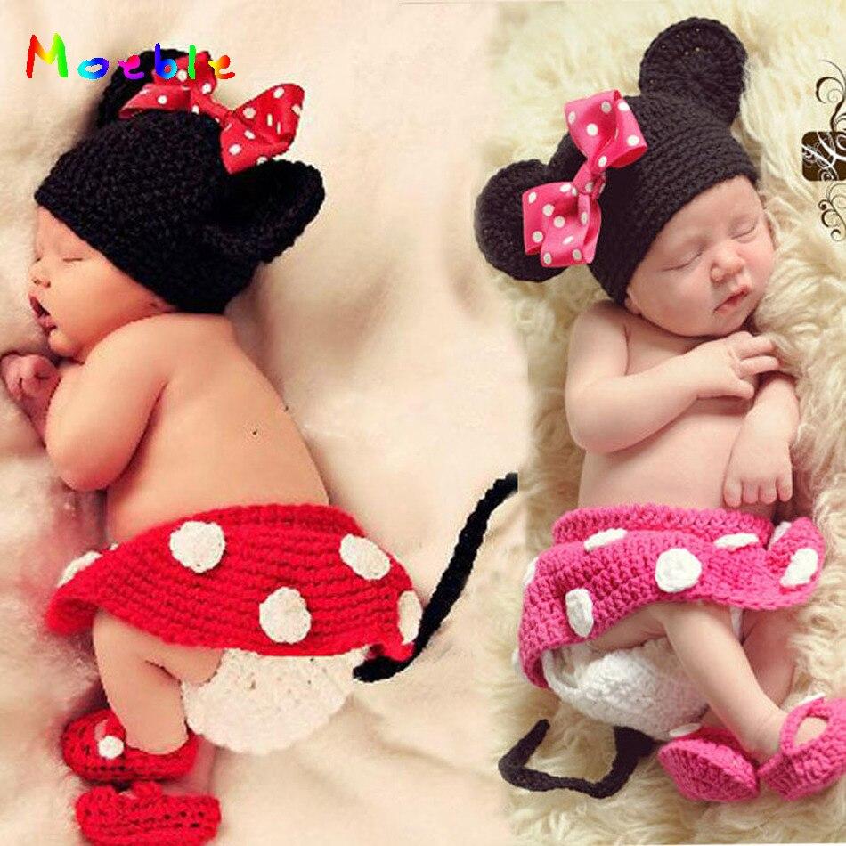 Infant Baby Crochet Photo Props Minnie Hat+Skirt+Pants+Shoes Sets Newborn Baby Girl Cartoon Costume Christmas Outfit MZS-14109 newborn panda design baby crochet photo props infant baby knitted photography props baby cartoon costume mzs 16010