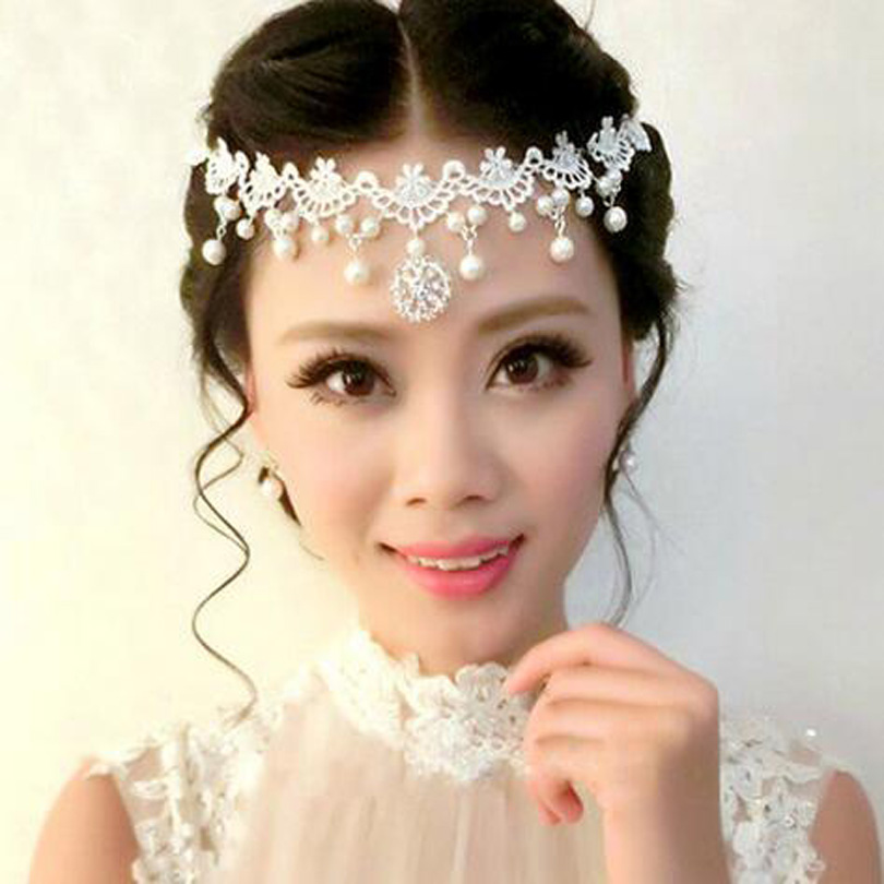 Lace Hair Jewelry Pearls Bohemian Queen Crystal Head Chain