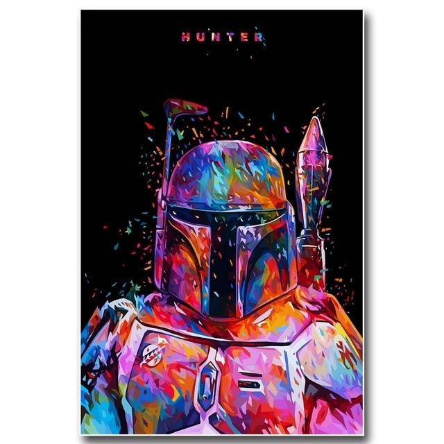 Плакат гобелен шелковый Звездные воины Боба Фетт