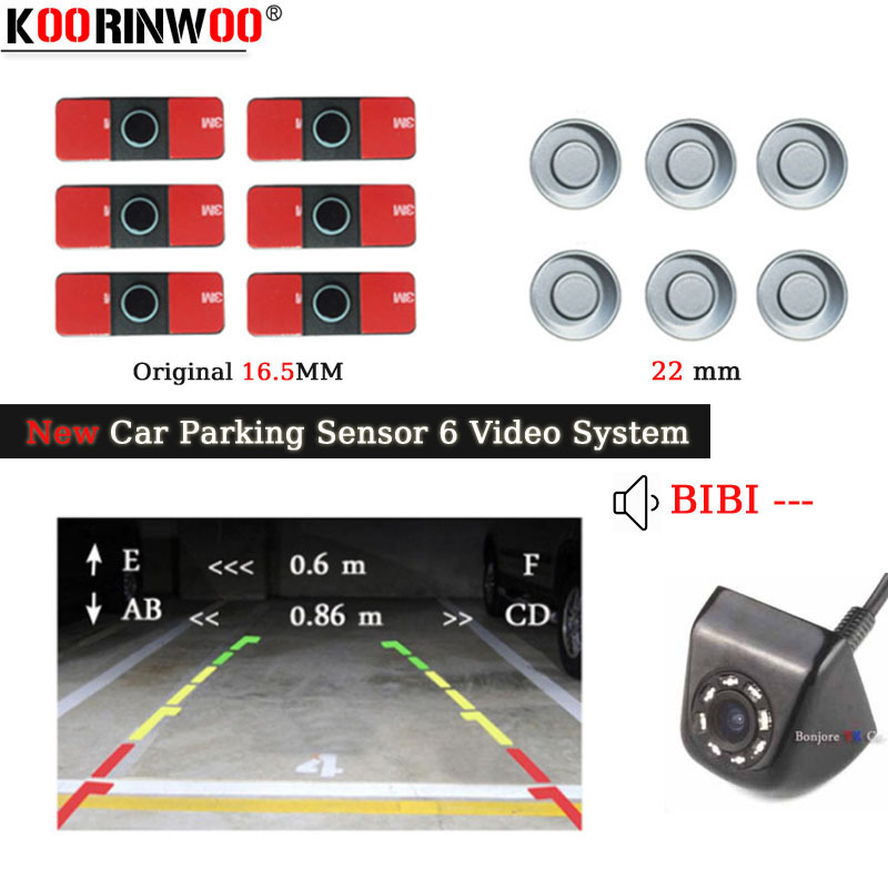 Koorinwoo Dual Channel Car Video Front Rear Parking Reverse Radar System 6 Sensor 16MM Flat Sensors For Rear View Camera Monitor