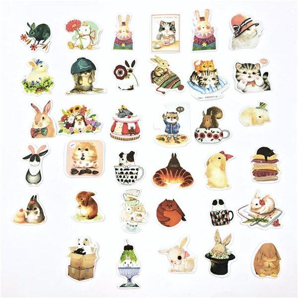 1 пакет, милые Мультяшные декоративные наклейки в Корейском стиле, клейкие наклейки, скрапбукинг, сделай сам, декоративные наклейки для дневника - Цвет: 6