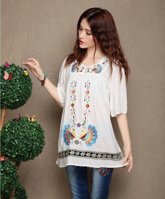 Ethnic Style Embroidery Women's Summer New Peacock Embroidered Mexican  Cotton Blouse Vintage Dress Tops Free Shipping