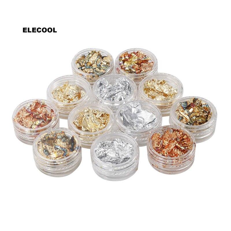 ELECOOL 12 коробок золотые наклейки для ногтей серебряная фольга чешуйчатый чип наклейки Лак блестящий дизайн ногтей украшения маникюрные накл...