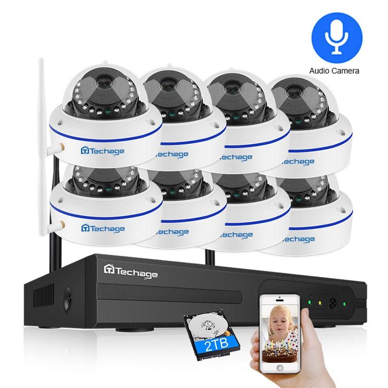 Techage 8CH CCTV System Wireless 1080P HD NVR 8PCS 2.0MP IR Outdoor Waterproof Dome Wifi Security Camera System Surveillance Kit