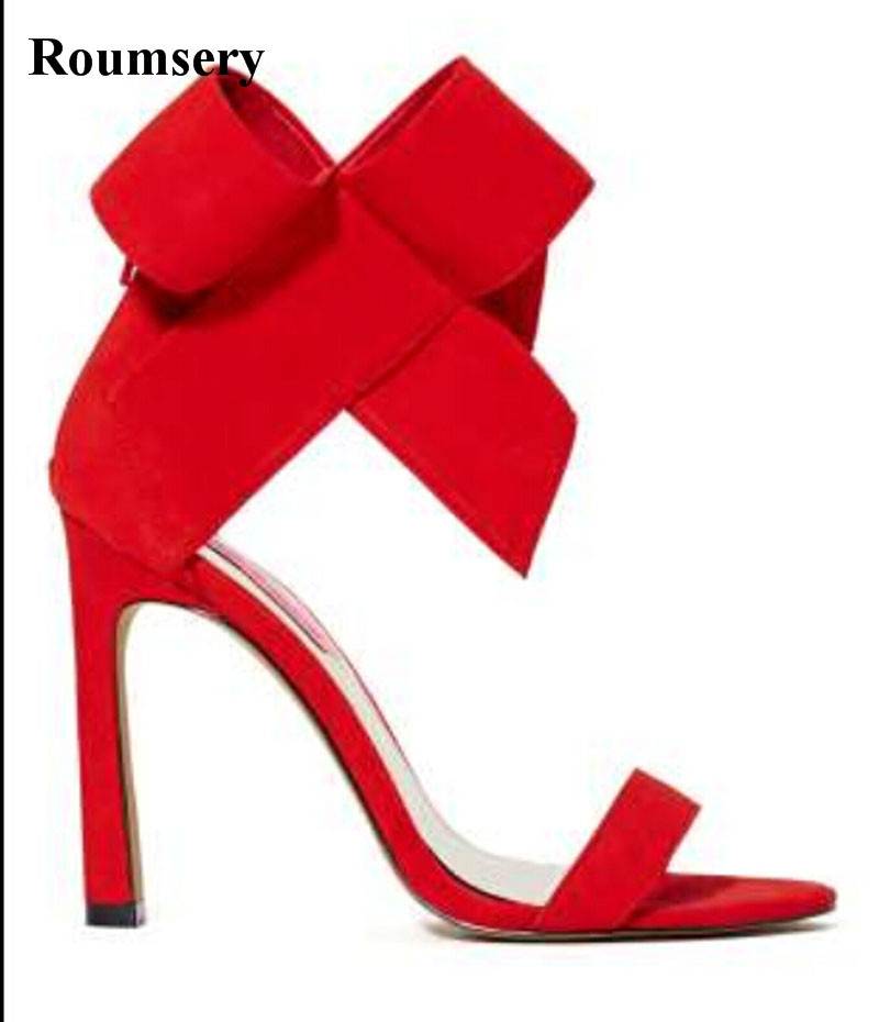 New Fashion Women Open Toe Suede Leather Big Bowtie Design High Heel Sandals Super High Heel Sandals Formal Dress Shoes fashion women s sandals with metal and stiletto heel design