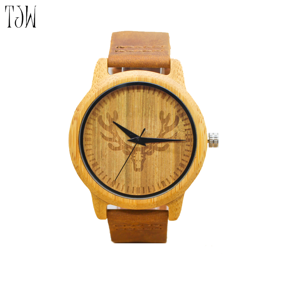 TJW Wooden watch Hot Selling Fashion Wood Watch Natrual Bamboo Wrist Watch With Genuine Leather Bracelet Men Clock Women Gift casual nature wood bamboo genuine leather band strap wrist watch men women cool analog bracelet gift relojes de pulsera
