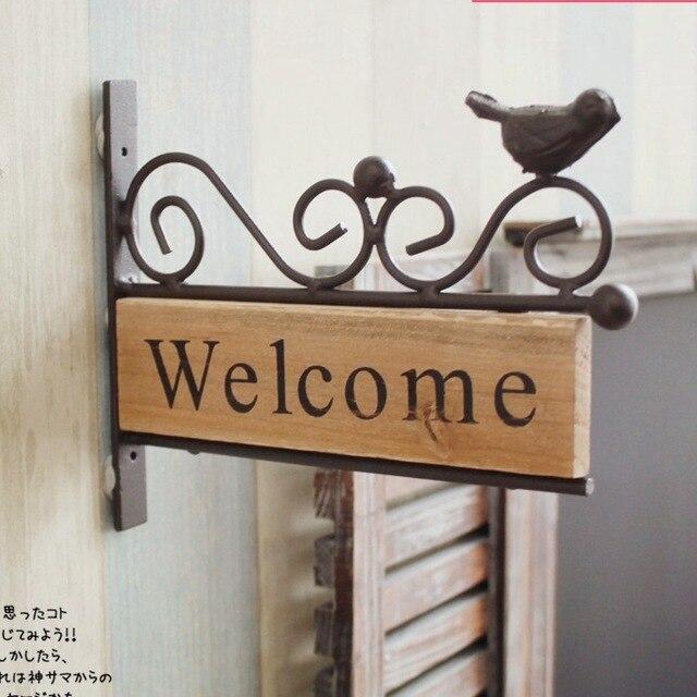 Vintage Rural Style Iron Welcome Board Wooden Garden Decor Bird Design Wall Hanger