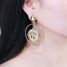 Vintage Europe Style Lion Head Earrings for Women Trendy Round Gold Big Dangle Earring Metal Baroque Ear Jewelry 2019