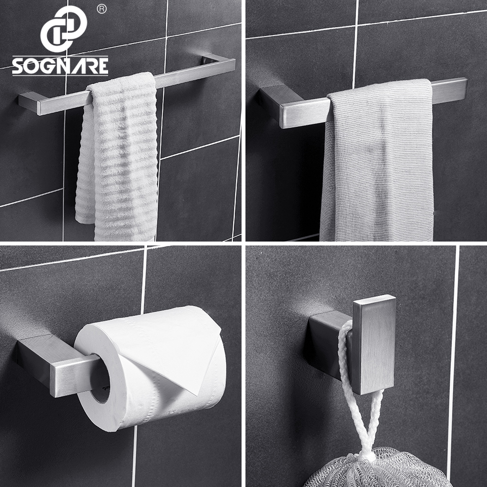 SOGNARE 304 Stainless Steel Bathroom Accessories Set Single Towel Bar Robe hook Paper Holder 4pcs set