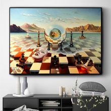 Surreal City Chess Beach Set Canvas Art Print Painting Poster Wall Pictures For Living Room Home Decoration Decor No Frame(China)