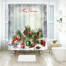 3d Christmas Tree and Santa Claus Ball Pattern Shower Curtains Bathroom Curtain Thicken Waterproof Thickened Bath Curtain santa claus and gifts printed waterproof shower curtain