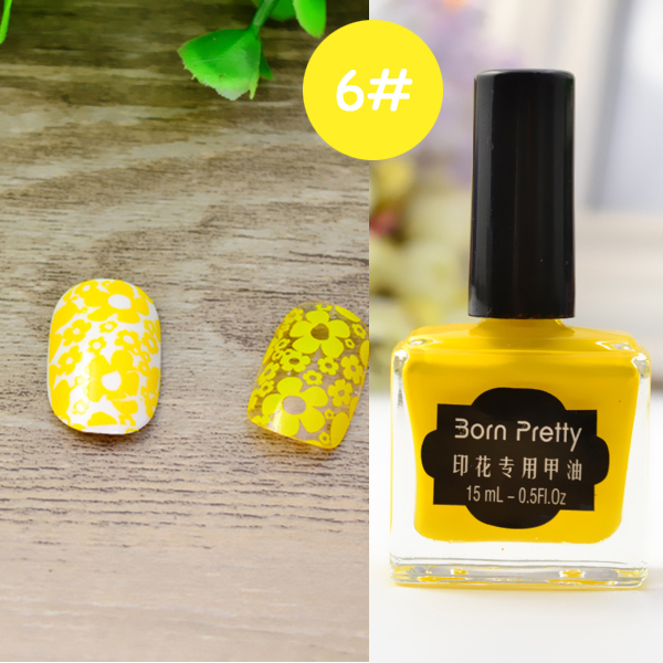 1pc 15ml Born Pretty Nail Art Stamping Nail Polish Yellow Color Nail
