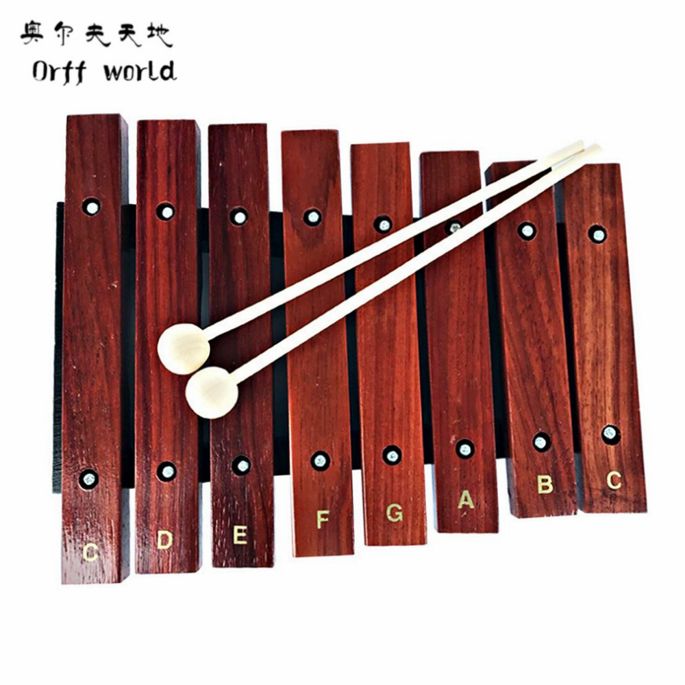 Orff World 1pcs Kids Natural Wooden 8 Wide Note Tone Xylophone Percussion Musical Instrument Children Early Music Learning Toys