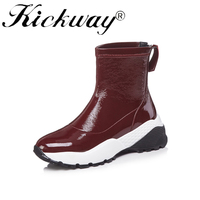 Kickway Genuine Leather Snow Boots Ankle Boots sock boots women Female Socks Boots 2018 Plus Size 34 41