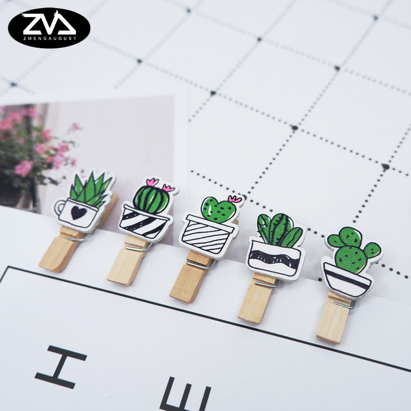 10 Pcs/lot Creative Fleshy Flower Wood Clip Photo For Clothespin Craft Clips Party Decoration Clip With Hemp Rope Party Supplies