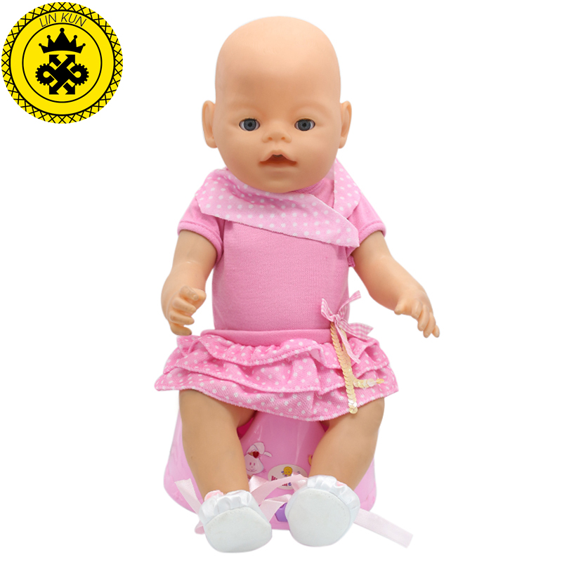 Fit 43cm Zapf Baby Born Doll Clothes Pink Doll Clothes