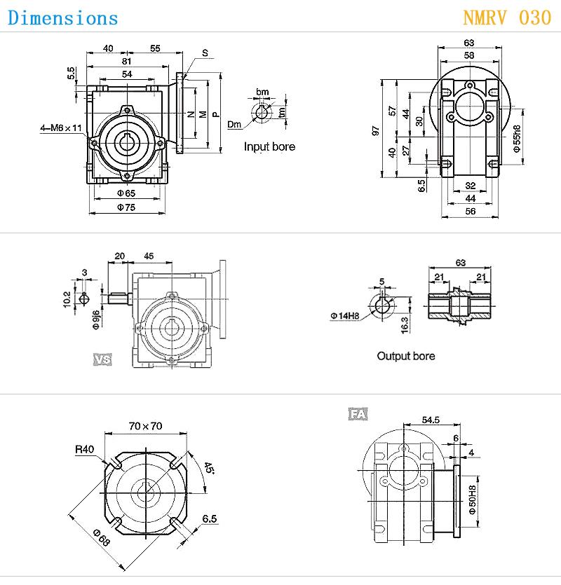 NMRV 030 56B14 series model choose