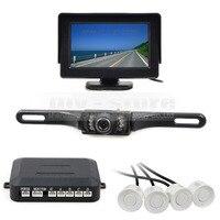 Video Parking Sensor 4 3 Inch Rear View Car Monitor Kit 4 Parking Radar IR Night