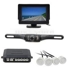 DIYKIT Video Parking Sensor 4.3 Inch Rear View Car Monitor Kit + Parking Radar + IR Night Vision Car Camera Parking Assistance