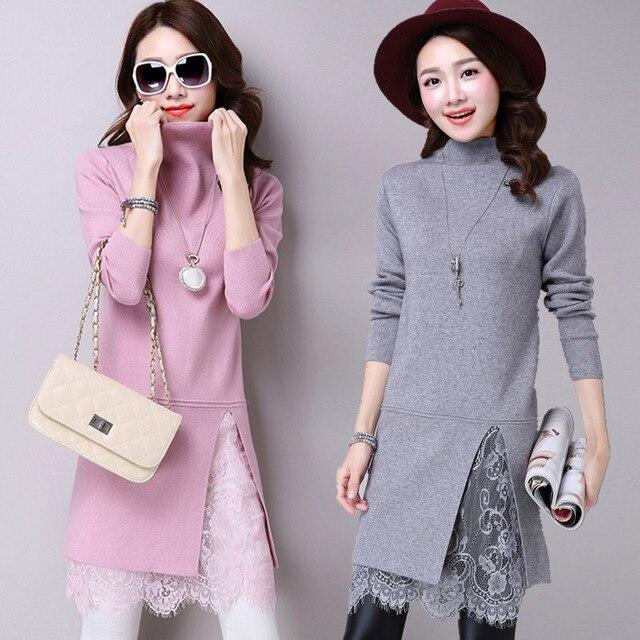 f4218fc5d Estilo coreano Casual Turtleneck Lace vestidos moda manga larga de lana  Sexy hecho punto Cachemira suéter