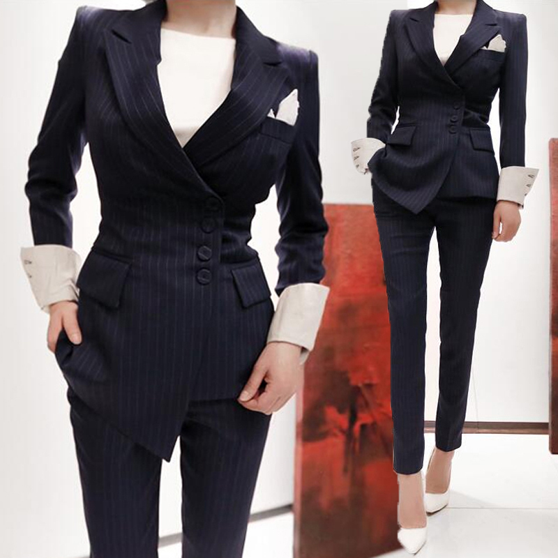 Office worker ladies professional suit 2019 autumn and winter new female temperament fashion suit suit striped interview suit