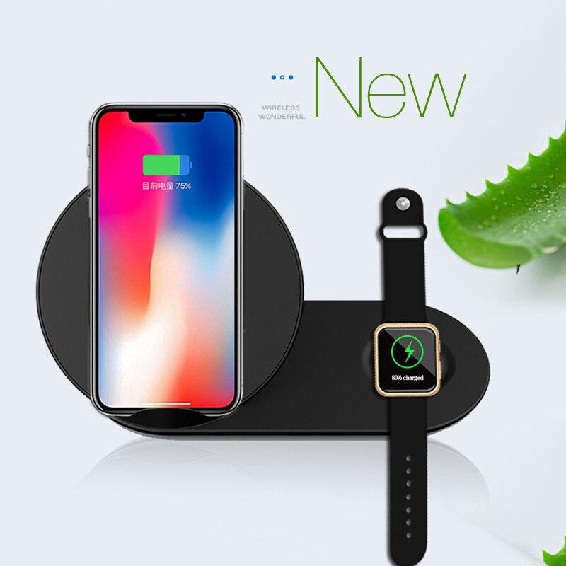 Caricatore senza fili Qi Pad di Ricarica Veloce Per Apple Osservare 3 AirPower Per iWatch 3 4 QI Per Sumsang S9 per iphone8 più xr xs max