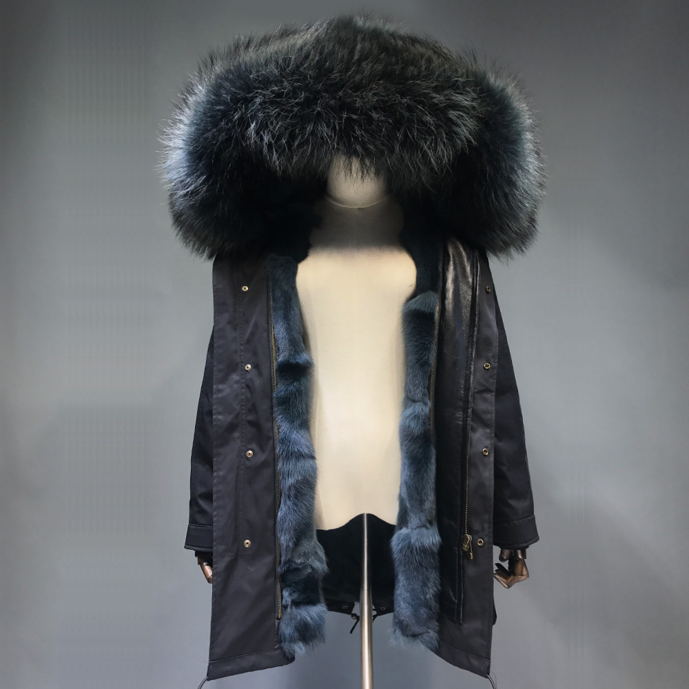 Maylofuer Detachable Natural Fox Fur Inner Parka Real Raccoon Fur Collar Hood Coat Women Fur Parkas