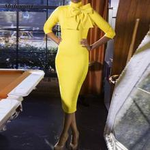 Yellow Midi Dress Women Elegant Bodycon Dress 3/4 Sleeve High Neck Office Lady Work Dress Autumn Women Bow Tie Business Dresses