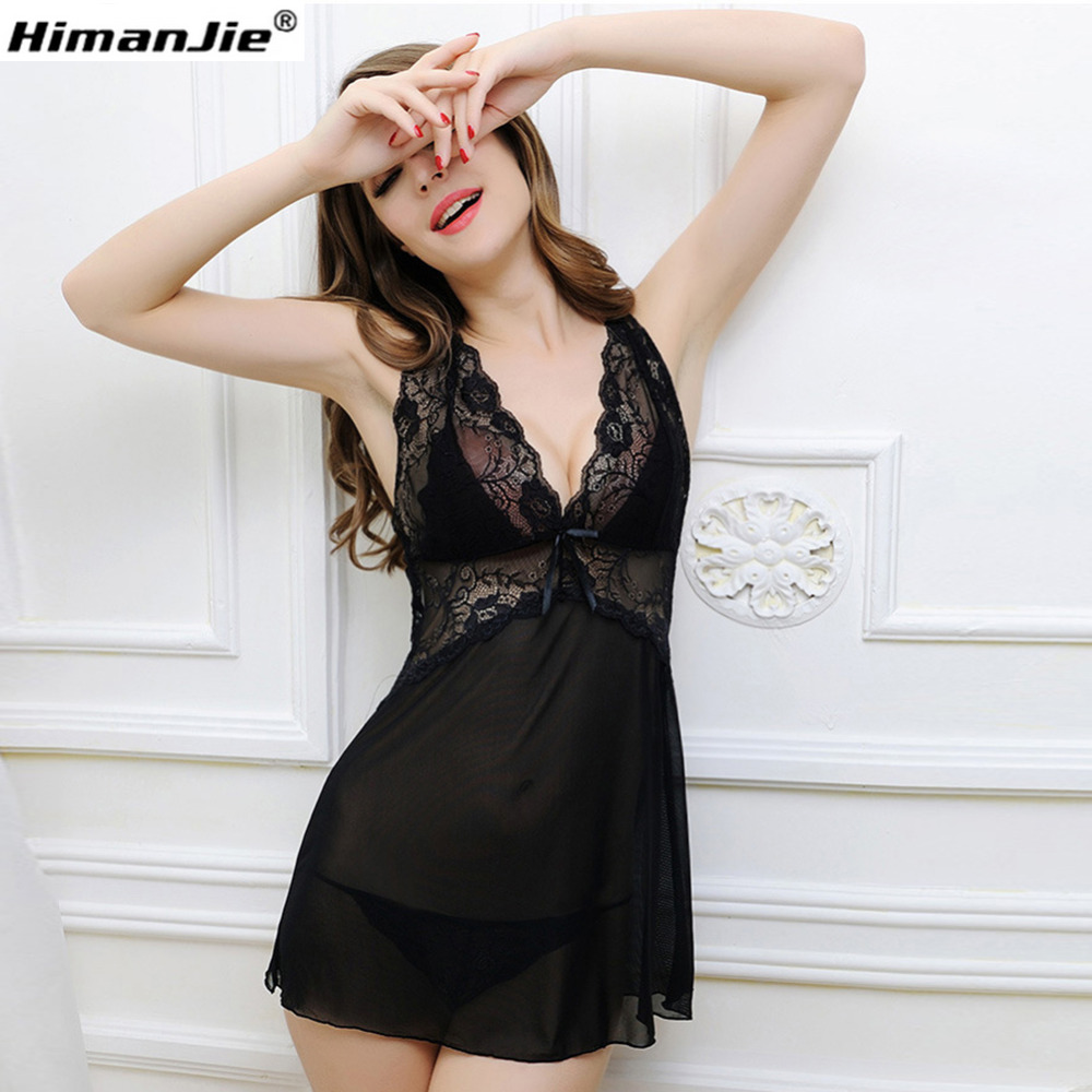 Adogirl Sexy New Women Sleepwear Mesh and Metallic Lace Babydoll Chemise Dress With G-String Plus Size S-XXXL Lingerie