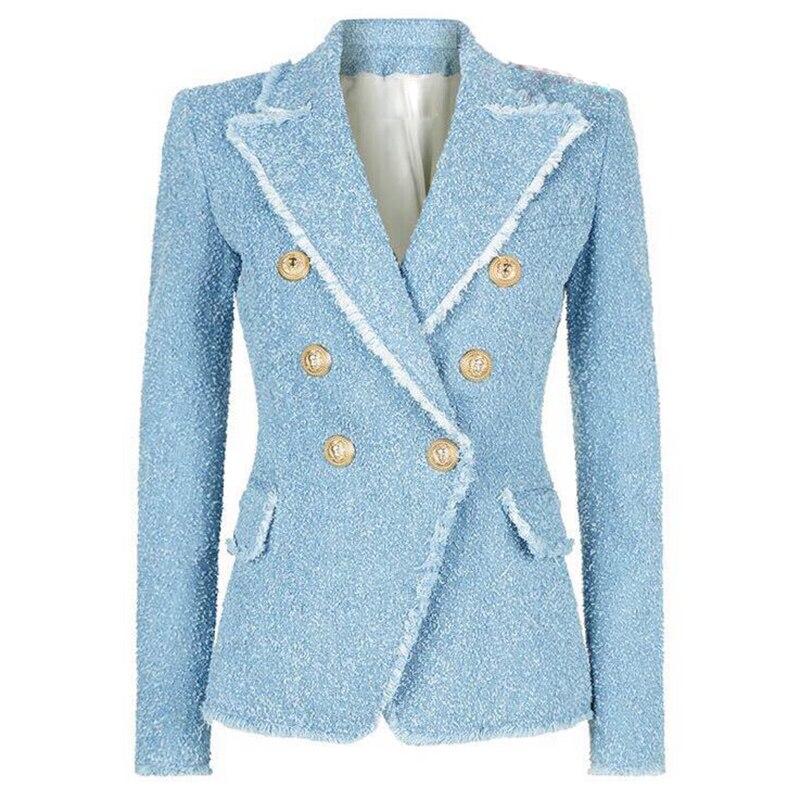 HIGH STREET Новая мода 2018 Дизайнер Блейзер Для женщин двубортный Лев пуговицы с бахромой твидовый Блейзер Куртка