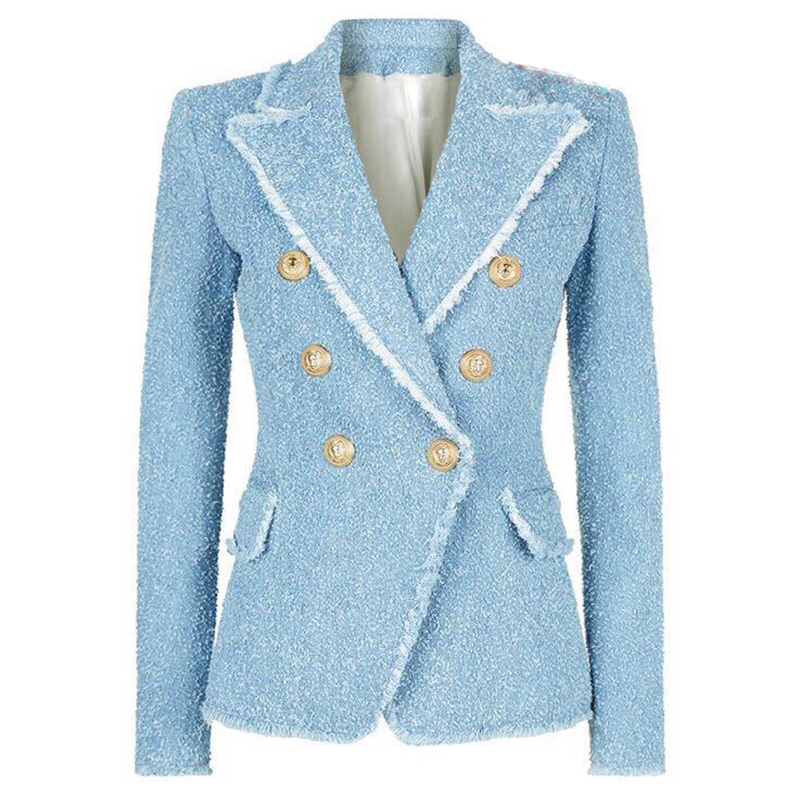HIGH STREET New Fashion 2018 Designer Blazer Womens Double Breasted Lion Buttons Tassel Fringe Tweed Blazer Jacket